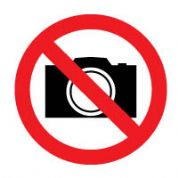 Prohibition safety sign - No Cameras 190